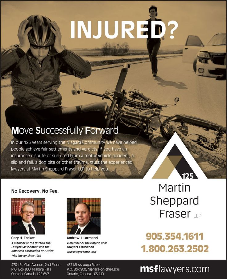 Hurt by the actions of another person - call us to understand your rights. Andrew Larmand will focus on your objectives and together with the legal team at Martin Sheppard Fraser LLP we'll move your case forward so you can concentrate of recovery. Call and ask for Andrew at (905) 354-1611.