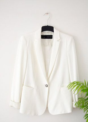 Zara Blazer Tailleur Zara Femme Blanc veste Courte TJKcuF3l1