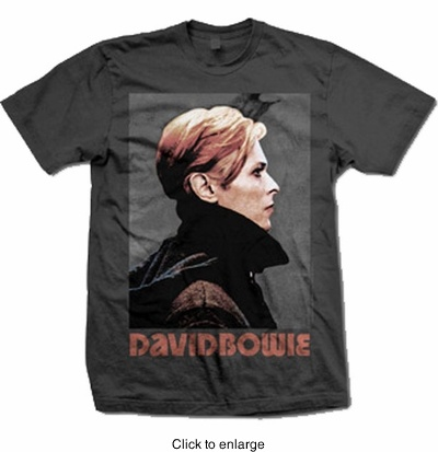 [David Bowie Low profile men's tee - $17.99]--Perfect for a casual look if paired with leggings or jeans. I'd prefer it worn with animal print leggings (Rawr!) and chunky ankle boots.  Don't forget to layer on some thick neon colored bracelets and complete it with an over sized clutch. Hair preferably in a messy updo. Perfection! Besides, who doesn't love David Bowie?
