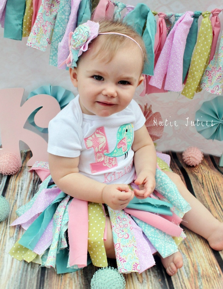 Shabby Chic Fabric Tutu, Pink, Aqua, Green, Damask, polka dot, Headband, Birthday, outfit, cake smash, Girl, Infant, Toddler. $38.50, via Etsy.