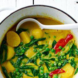 Curry z groszkiem i ziemniakami - Przepis