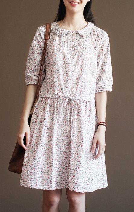 Half sleeve pink cotton sundress causal fit flare dress