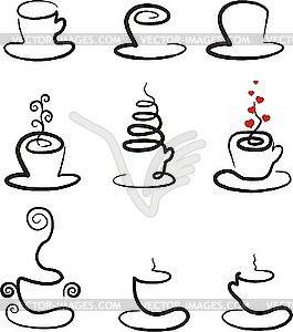 Набор чашки кофе и чая - графика в векторном формате