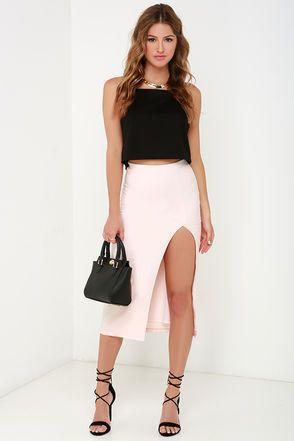 Pretty Pale Blush Skirt - Midi Skirt - High-Waisted Skirt - Pencil Skirt - $42.00