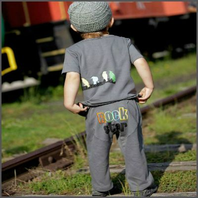 Grey 'Rock Star' Knit Crawler. The perfect pants for your rockin' mini star! These super-cute, grey 'crawler' style pants are stretchy soft, yet durable enough to be his everyday play pants. With 'Rock' multi-coloured embroidery and 'star' in black solid print it's sure to be a fan favourite! It's super-soft material is made of 100% cotton and is machine washable.