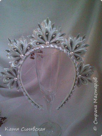 Украшение Новый год Цумами Канзаши Новогоднее ч 2 короны Ленты фото 12