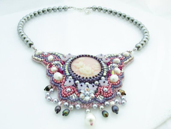 Romantic Cameo Necklace, Bridal Pearl Necklace, Lilac Pink Cameo Necklace, Bead Embroidery Necklace, Victorian Wedding Necklace Use PINTEREST coupon at check-out to get 10% OFF!