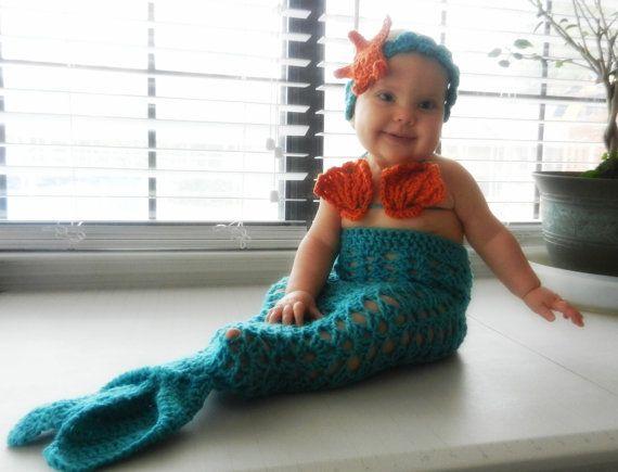 Mermaid Tail Set Baby Costume 3 Piece Handmade by EvaVillain, $45.00