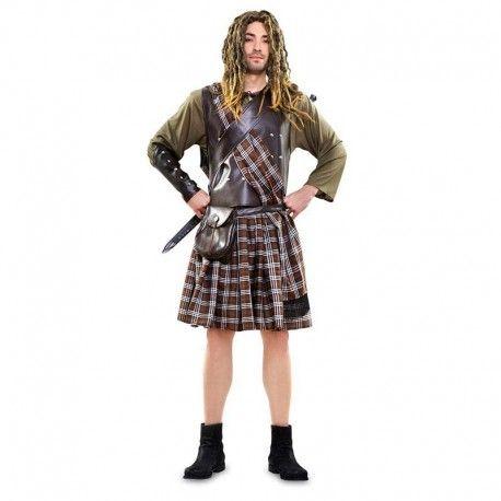 Disfraces despedida de soltero | Disfraz de guerrero escoces  Brave Hear. Compuesto de falda escocesa, camisola, manto tipo coraza, bandolera de cuadros, muñequera y bolso imitacion cuero.  25,95€  #disfraz #despedida #soltero #disfraces #escoces #guerrero #falda #cuadros #escocesa