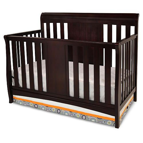 Delta Bennington Sleigh 4 In 1 Crib Dark Chocolate Strongsturdy Wood Construction Converts From