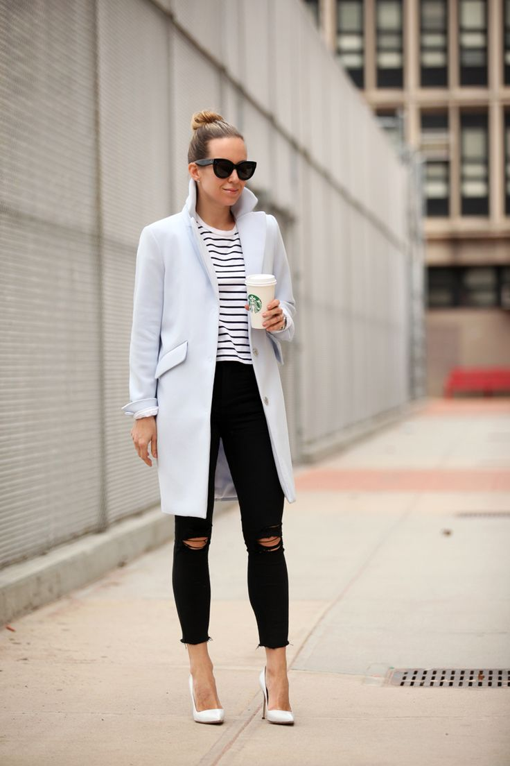 Pastel TopperStriped Tee: Rag & Bone I Jeans: Express  | Coat: H&M | Shoes: Manolo Blahnik Brooklyn Blonde