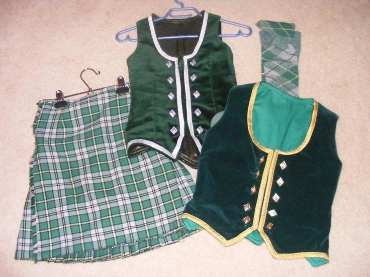 Kilt with two green vests (not on dancer) #Breton #Green #Tartan