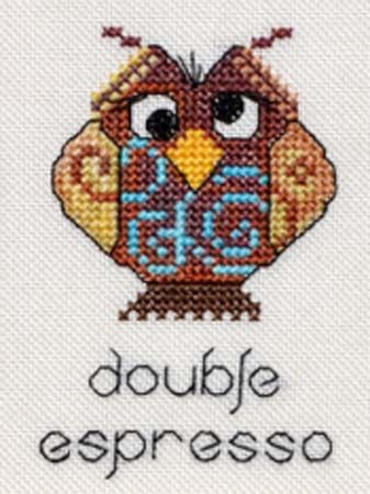 """Close up of one of the owls from MarNic Designs' new cross stitch pattern, """"Coffee Chart."""""""
