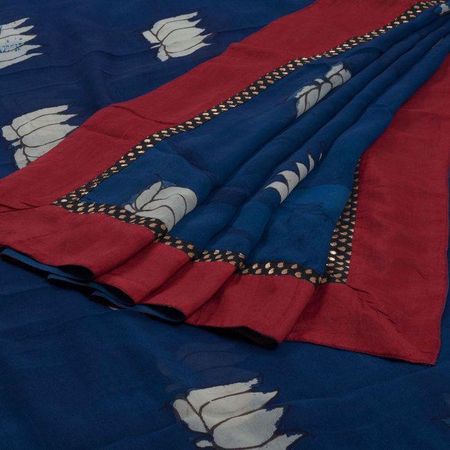 Jullaaha Sapphire Blue Hand Painted Kalamkari Georgette Saree with Lotus Motifs & Sequinned Edges 10002302 - AVISHYA