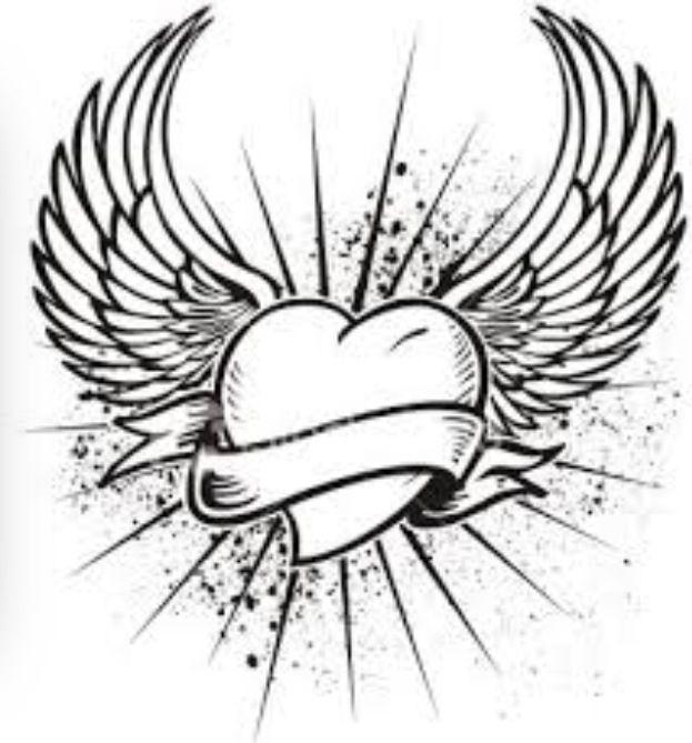 C ur avec des ailes coloriage art th rapie pinterest - Coeur avec des photos ...