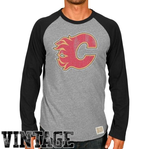 NHL Original Retro Brand Calgary Flames Logo Long Sleeve Raglan T-Shirt - Ash/Black