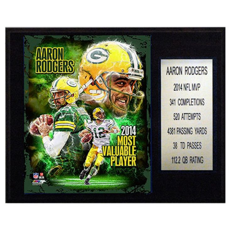 C and I Collectables NFL 15W x 12H in. Aaron Rodgers 2014 NFL MVP Green Bay Packers Player Plaque - 1215RODGERSMVP