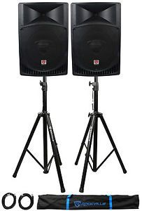 Buy Pair Rockville RPG15 15 2000w Powered PA/DJ Speakers  2 Stands  2 CablesBag