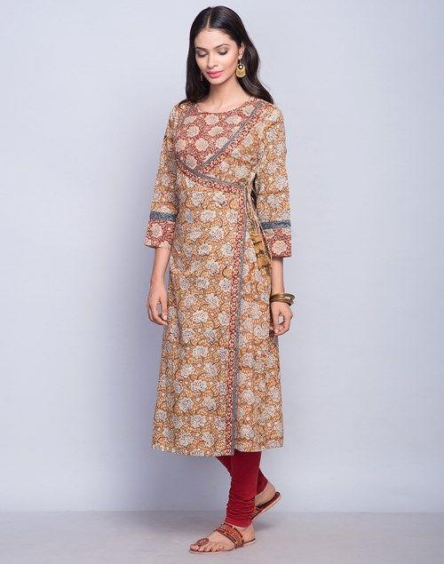 Cotton Cambric Anghrakha Bagru Printed Long Kurta
