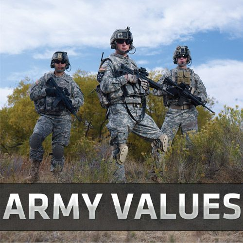 Army Values: Loyalty, Duty, Respect, Selfless Service, Honor, Integrity, and Personal Courage
