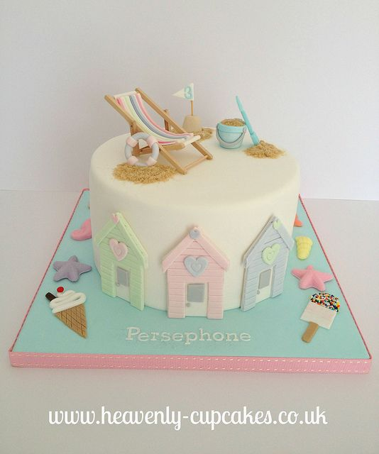 Beautiful and #Cute #Seaside #Cake With #Deckchair and #Beach huts! We love and had to share! Great #CakeDecorating!