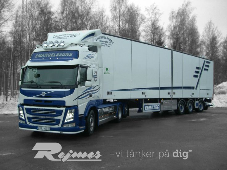 2014-02-04 Emanuelssons Transport AB Volvo FM Glob XL, 460 Dragbil 6x2 Med en 3 axlig  LIMETEC trailer med öppningsbar sida, lift och lucka. Tvångs styrd sista axel.