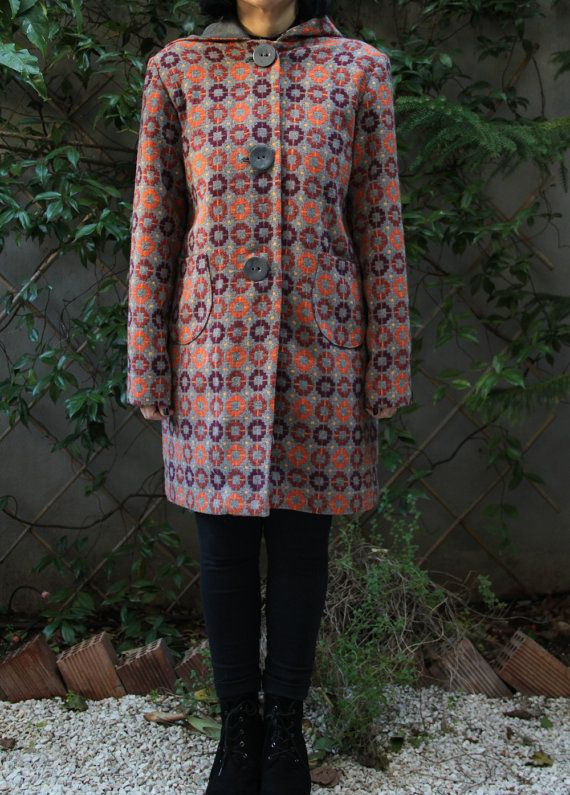 """Orange & Bordeaux vintage style wool coat with gray lining, coconut buttons and a crochet brooch on the back, by """"EatingTheGoober"""""""