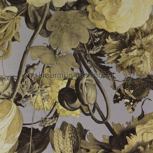 Stilleven met bloemendessin geelgrijs behang 358004 uit de collectie Masterpiece van Eijffinger koop je bij kleurmijninterieur
