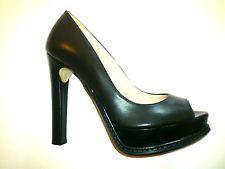 Damesschoenen met hak 12 zwarte lederen Open Toe  Lederen schoenen Made in Italy