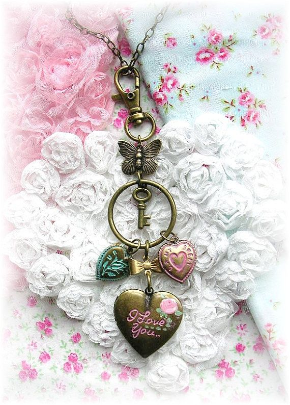 Vintage Puffy Heart Charm Necklace Purse Fob Pull Key Ring Pink Locket by TheVintageHeart