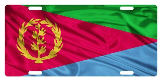Eritrea Flag Custom License Plate National Emblem Wave Etsy In 2020 Eritrea Flag Custom License Plate Flag