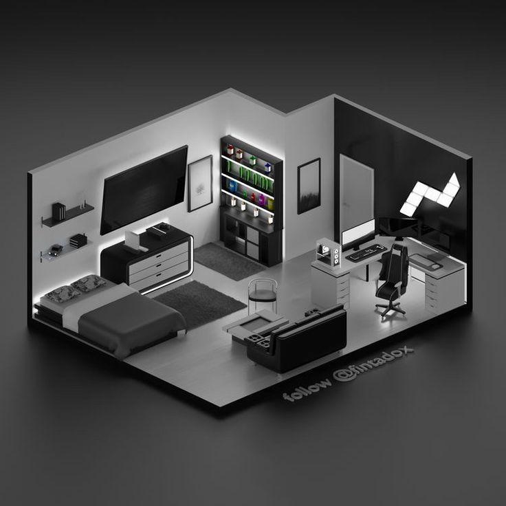 Gamer Bedroom, Bedroom Setup, Room Ideas Bedroom, Home Office Setup, Home Office Design, Home Interior Design, Computer Gaming Room, Gaming Room Setup, Gaming Rooms