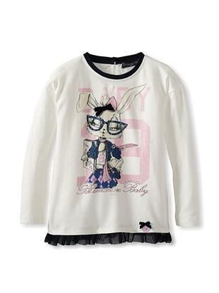 53% OFF Blumarine Girl's White Tee with Bunny (Ivory)