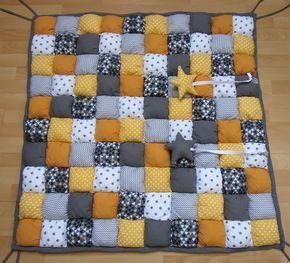 Tapis de parc bébé jaune et gris, tapis de jeu bébé jaune et gris, puff-quilt jaune gris blanc, tapis éveil jaune et gris