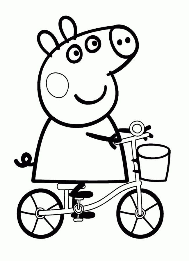 Dibujo de Peepa Pig en bicicleta. Dibujo de Peepa Pig para imprimir y colorear. dibujosparacolorearonline.es