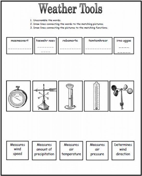 Weather Tools Worksheet This Could Be A Great Worksheet To Use After Going Over The Different Tools We Use To Weather Worksheets Weather Science Weather Tools