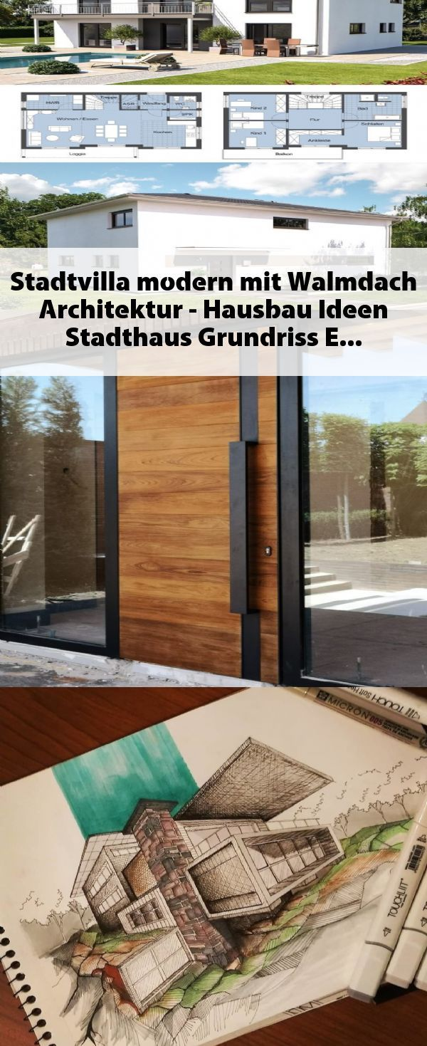 Stadtvilla modern mit Walmdach Architektur – Hausbau Ideen Stadthaus Grundriss E…