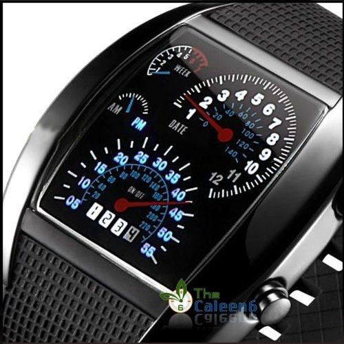 LED watch with a display made to look like speedometers. Cool!