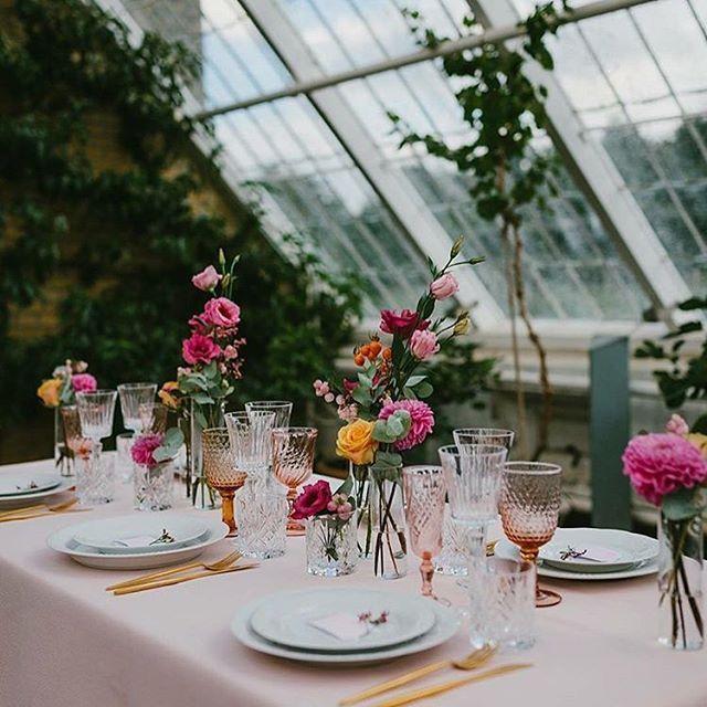 Det enkle og det nordiske er en klar favorit i årets bryllups bestillinger. Derfor er det skønt at se bud på en mere farverig opdækning. Her bryllups opdækning i @bernstorffslot's have med vores smukke farvede glas, guldbestik samt hvide tallerkner.  Opdækning @celina_christensen og foto af @carolinasegre  #serviceudlejning #bryllup2016 #wedding #brud #bryllup #opdækning #udlejning #fest #reception #barnedåb #event #havefest #gardenparty #eventdesign