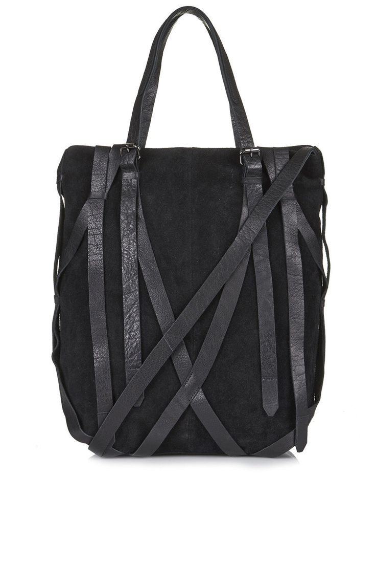 Strappy Suede and Leather Tote - The Suede Brigade - We Love - Topshop     Price: £80.00