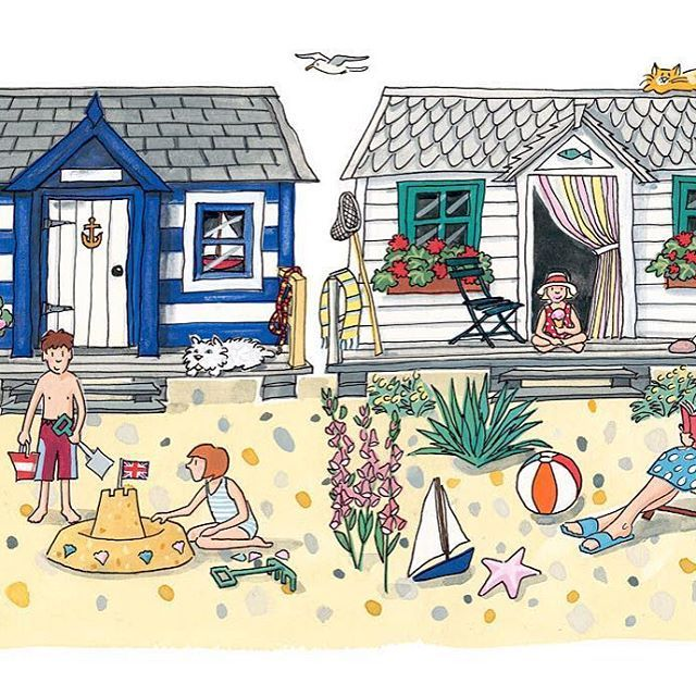 Oh we do love to be beside the seaside!  #beachhuts #illustration #design #gouache #ink #beach #seaside #summer #sunshine #british #english #paint #colour #sun #alisongardiner