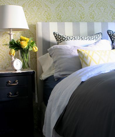 Yellow, grey and navy bedroom.  JSB Design
