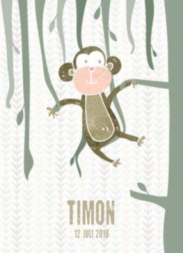 Hip geboortekaartje voor de geboorte van een jongen met mooie illustratie van een aap die in de lianen hangt. Op de achterkant hangt dit grappige aapje ondersteboven.