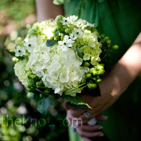 White and green hydrangeas, hypericum berries, Star of Bethlehem and bear grass gave the bouquets lots of texture.