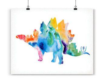 Dinosaur aquarel Print aquarel schilderij aquarel door Thenobleowl