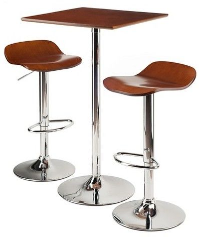 Winsome 3 Piece Kallie Bar Height Pub Table Set with Air Lift Adjustable Stools Wood Seat/Cappuccino Bright Chrome
