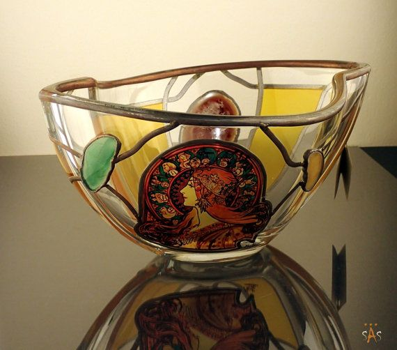 """Alphonse Mucha.Zodiac.Bowl  Size: 280 mm x 20 mm x 130 mm (11"""" x 8"""" x 5"""" inches)  Massive, glass, bright, hand-painted decorative bowl, product of Czech glass factories. Precise copy of Mucha's artwork.   I try to accurately photograph and describe all of my items. If you have any additional questions, please feel free to ask."""