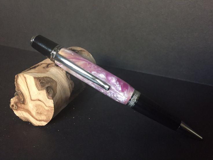 Sierra Chrome and Purple Swirl Acrylic Twist Pen by JackalopeWoodworks on Etsy