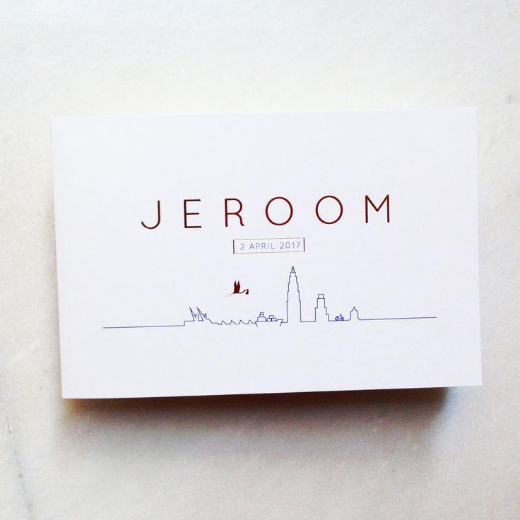 Geboortekaartje // Jeroom // Goudfolie // ooievaar // skyline // Antwerpen // Mosstudio.be // sober // strak // blauw // jongen