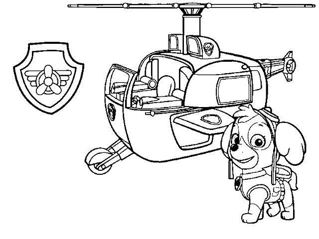 Skye Con Elicottero Paw Patrol Disegni Da Colorare Gratis